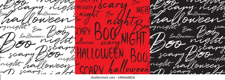 Happy Halloween. Handwritten lettering words seamless patterns set for Halloween. The phrase in black, red, white on background. Use for postcard, card, page etc.