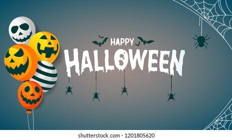 Happy Halloween Hanging Spider Concept Background Vector Illustration. Halloween Flat design.