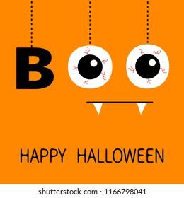 Happy Halloween. Hanging word BOO text Eyeballs bloody veins. Spooky fangs tooth. Dash line thread. Greeting card. Flat design. Orange background. Vector illustration
