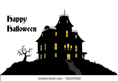 Happy Halloween in a Haunted House
