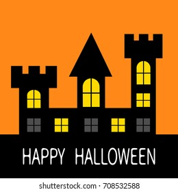 Happy Halloween. Haunted house Dark black castle tower silhouette. Switch on yellow light at the windows, triangle roof. Greeting card. Flat design. Orange background. Isolated. Vector illustration