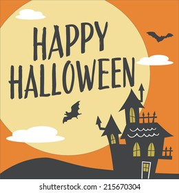 Happy Halloween Haunted House with Moon and Bats Vector Design