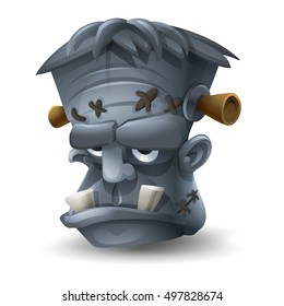 Happy Halloween head Frankenstein isolated on white background. Vector illustration.