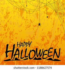 Happy Halloween header on orange colored fire background with illustrated spider elements for Halloween layouts