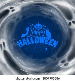 Happy Halloween holiday card. Festive banner with transparent flying ghosts. Vector illustration. Promo banner.