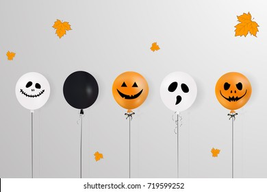 Happy Halloween. Holiday concept with holiday colorful  balloons, falling orange leaves  for banner, poster, greeting card, party invitation. vector cartoon  illustration.