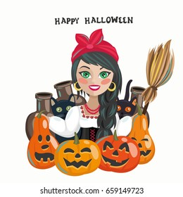 Happy Halloween holiday fancy poster with pumpkins and witch