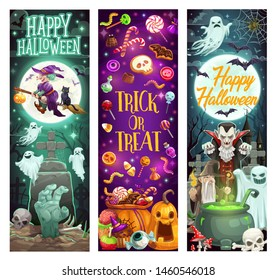Happy Halloween holiday monsters, pumpkins and witch ghosts. Vector Halloween trick or treat party skeleton skull, devil and Dracula vampire with zombie and potion cauldron at cemetery