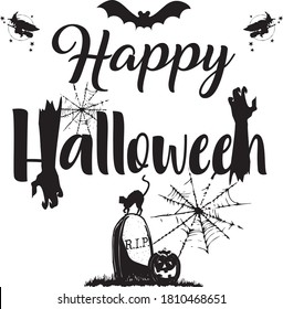 Happy Halloween holiday text with  pumpkins, black cat, witch on broom, grave and flying bat. Zombie Hand Rising. Happy Hallowen design, postcard, poster, holiday and greeting card concept. Vector.