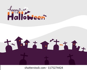 Happy Halloween holiday wallpaper with purple gravestones, castles and many bats on the light grey and white cloud background.