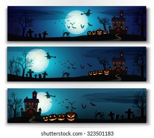 Happy halloween horizontal banners set. Colorful vector illustration