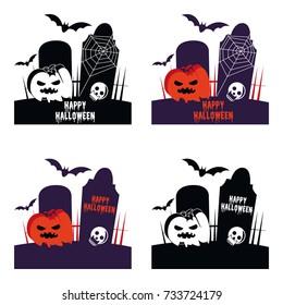 Happy Halloween horror symbol cartoon illustration vector