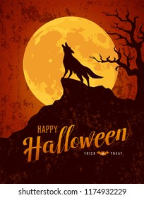Happy Halloween howling wolf on the moon rough surface design background, vector illustration