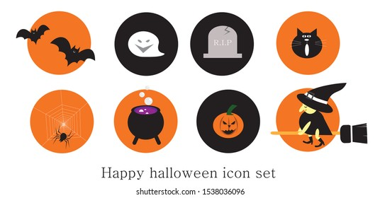 happy Halloween icon set of vector such as bat,ghost,black cat,spider,cauldron,pumpkin,witch is riding the broom, potion,tombstone with R.I.P letter on it.