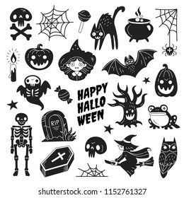 Happy Halloween icons collection. Vector illustration of funny black and white Halloween symbols such as skeleton, grave, skull, pumpkin, owl, toad, cat, ghost and a witch isolated on white.