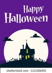 Happy Halloween Illustration on background of the moon