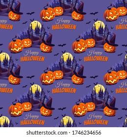 Fröhliche Halloween Illustration mit Pumpkins und Schloss auf dem dunklen Hintergrund. Nahtloses Muster.