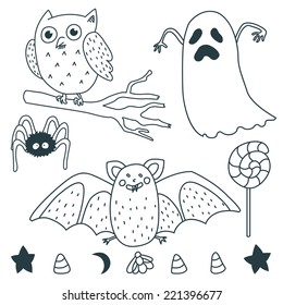 Happy Halloween Illustrations: Ghost, owl, star, marshmallow, spider, bat, moon, lollipop.
