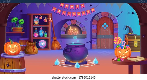 Happy Halloween. Interior of halloween room with door, cauldron, pumpkins, candy, vedim hat, magic ball, potions, broom, flycatcher, spiders and candles. Background for games and mobile applications.