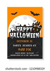 Happy Halloween invitation card. Vector set of Halloween party invitations. Vector illustration.
