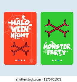Happy Halloween invitation design with bones vector