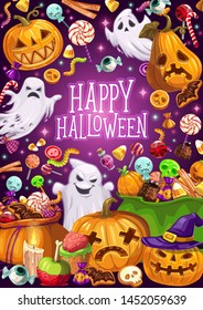 Happy Halloween, Jack lanterns and ghosts, trick or treat. Vector warm and spider, bat and witch hat, lollipop and cane candy, jelly and marmalade. Chocolate and cookies, cupcake and candle, skull