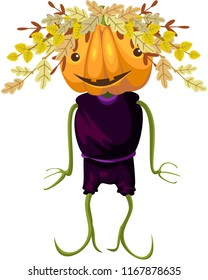 Happy Halloween. Jack - pumpkin head. Decoration with autumn branches. Vector.