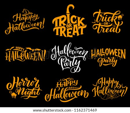 Happy halloween lettering calligraphy greeting cards stock vector happy halloween lettering calligraphy for greeting cards design vector halloween trick and treat party or m4hsunfo
