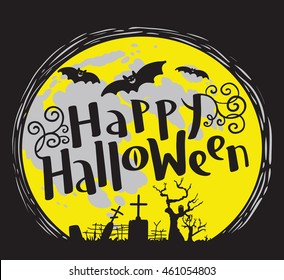 Happy Halloween lettering composition with cemetery and bats silhouette. Celebration october vector illustration with moon. Design element for t-shirt, poster, greeting cards
