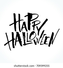 Happy Halloween lettering. Handwritten modern calligraphy, brush painted letters. Vector illustration. Template for banners, posters, flyers, greeting cards or photo overlays.