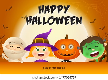 Happy Halloween lettering, kids in zombie and witch masks. Invitation or advertising design. Typed text, calligraphy. For leaflets, brochures, invitations, posters or banners.