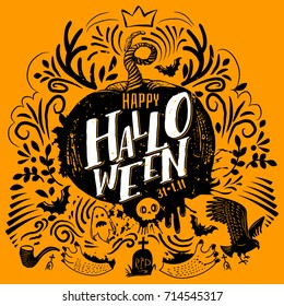 Happy Halloween lettering logo. Greeting card with Horns, ghost, wild cat, grave. Hand drawn typography for horror holiday