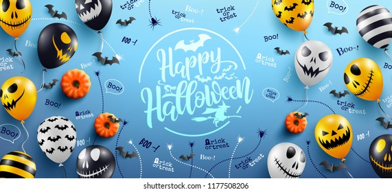 Happy Halloween Lettering on Blue Background with Halloween Ghost Balloons.Scary air balloons.Website spooky,Background or banner Halloween template.Vector illustration EPS10