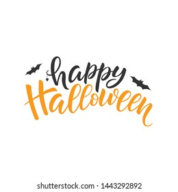 Happy Halloween lettering, vector brush calligraphy. Handwritten Halloween typography print for flyer, poster, greeting card, banner. Hand drawn decorative design element.