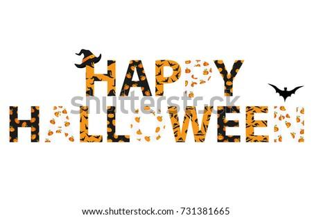 happy halloween lettering vector words invitations stock vector