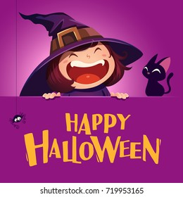 Happy Halloween. Little witch with big signboard. Purple background.
