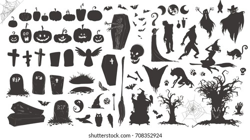 Happy Halloween Magic collection, witch, wizard attributes, creepy and spooky elements for halloween decorations, doodle silhouettes, sketch, icon, sticker. Hand drawn vector illustration.