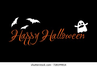 Happy halloween badge banner vector illustration stock vector happy halloween message design for greeting card festive banner orange handwritten text m4hsunfo