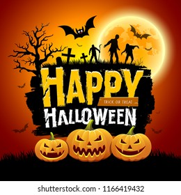Happy Halloween message design with pumpkins, bat, tree, zombies and full moon on orange background, vector illustration