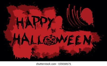 Happy Halloween message on bloody background, vector