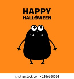 Happy Halloween. Monster black silhouette looking up. Wall shadow shade. Two eyes, teeth fang, spooky hands up. Funny Cute cartoon baby character. Flat design. Orange background. Vector illustration