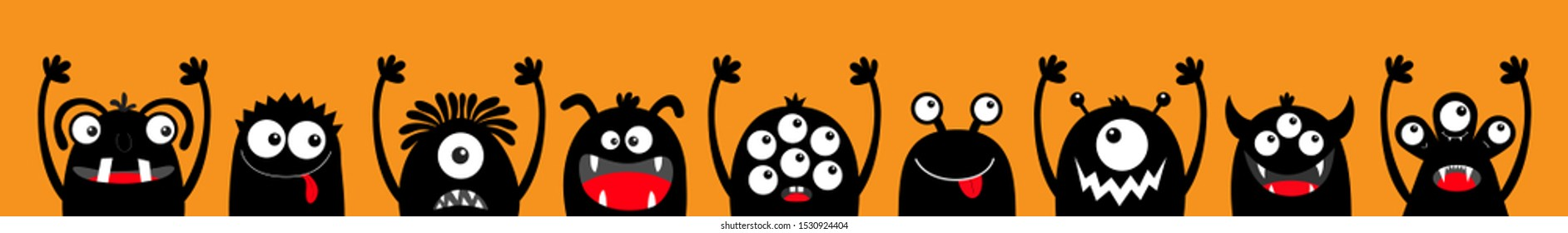 Happy Halloween. Monster black silhouette head face icon set line. Eyes, tongue, tooth fang, hands up. Cute cartoon kawaii scary funny baby character. Orange background Flat design Vector illustration