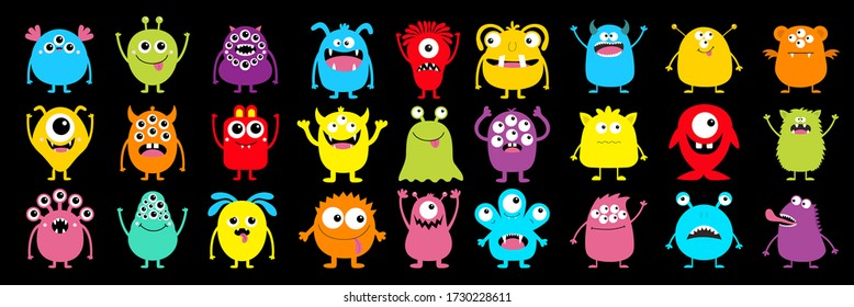 Happy Halloween. Monster colorful silhouette super big icon set. Cute kawaii cartoon scary funny baby character. Eyes, tongue, tooth fang, hands up. Flat design. Black background. Vector illustration