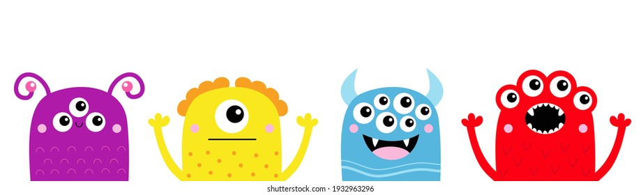 Happy Halloween. Monster icon line set. Cute kawaii cartoon baby character. Funny face head colorful silhouette. Hands up. Eyes teeth fang horn tongue. Flat design White background Vector illustration