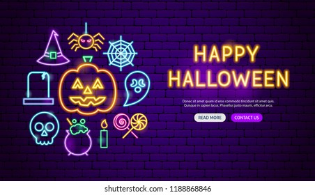 Happy Halloween Neon Banner Design. Vector Illustration of Scary Holiday Promotion.