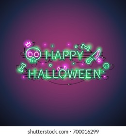 Happy Halloween neon sign with skulls and bones makes it quick and easy to customize your holiday projects. Used neon vector brushes included.