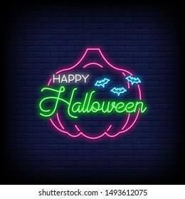 Happy Halloween neon signs style