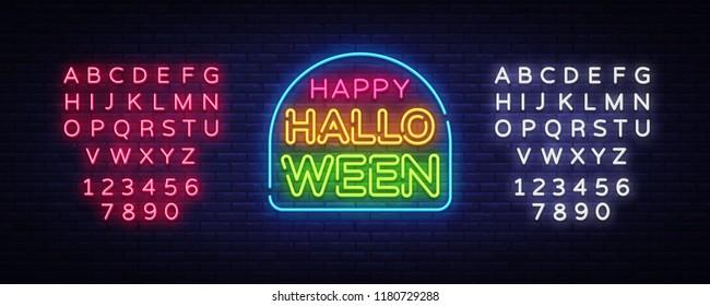 Happy Halloween neon text vector design template. Halloween neon logo, light banner design element colorful modern design trend, night bright advertising, bright sign. Vector. Editing text neon sign