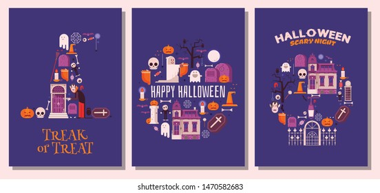 Happy Halloween night greeting cards with traditional festive symbols and elements stylized in witch hat, skull and circle shape. Halloween holiday congratulation postcards or invitations.