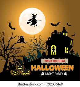 Happy Halloween night party orange moon design for holiday festival vector illustration.